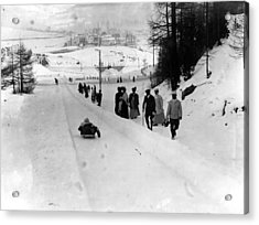 Tobogganing Slope Acrylic Print by Topical Press Agency