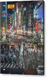 Tokyo Shibuya Crossing Crowds Of People Acrylic Print by Fotovoyager