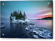 Acrylic Print featuring the photograph Tombolo Sunset Show / Lake Superior, Minnesota  by Nicholas Parker
