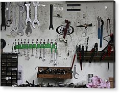 Tools In A Workshop Acrylic Print by Greg Burke
