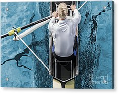 Top View Of Athletic Competition Rower Acrylic Print