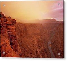 Toroweap Overlook Storm Sunrise Acrylic Print by Leland D Howard