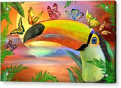 Acrylic Print featuring the mixed media Toucan And Butterflies by Carol Cavalaris