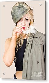 Tough And Determined Female Pin-up Soldier Smoking Acrylic Print