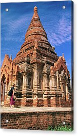 Tourist At Izagonna Temple Complex Acrylic Print by Anthony Plummer