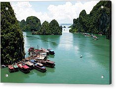 Acrylic Print featuring the photograph Tourist Boats, Halong Bay, Vietnam by Michalakis Ppalis