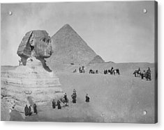 Tourists At Giza Acrylic Print by Topical Press Agency