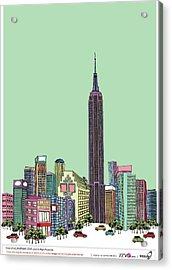 Tower With Buildings Against Clear Sky Acrylic Print by Eastnine Inc.