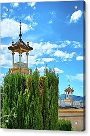 Acrylic Print featuring the photograph Towers And Blue Sky From Montjuic In Barcelona by Eduardo Jose Accorinti