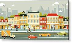 Town City Street Panoramic Cityscape Acrylic Print