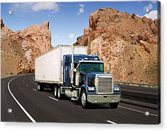 Tractor-trailer Truck On Highway Acrylic Print