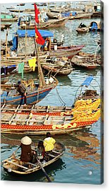 Trading On Boats In Halong Bay, Dao Cat Acrylic Print