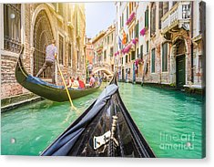 Traditional Gondolas On Narrow Canal In Acrylic Print