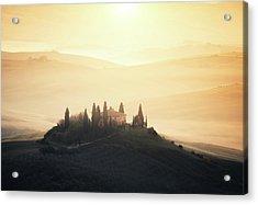Traditional Tuscan Farmhouse At Sunrise Acrylic Print by Borchee