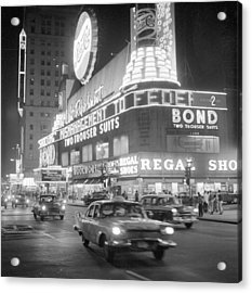Traffic And Stores In Times Square Acrylic Print by Bettmann