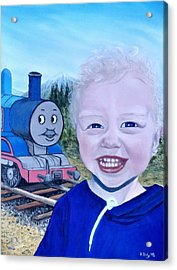 Acrylic Print featuring the painting Train by Kevin Daly