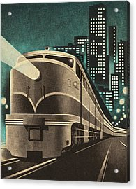 Train Leaving City Acrylic Print
