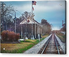 Train Tracks To Old Town Acrylic Print