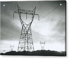 Transmission Lines In Mojave Desert Acrylic Print
