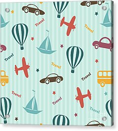 Transport Seamless Pattern. Kids Acrylic Print