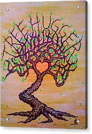 Acrylic Print featuring the drawing Tree Hugger Love Tree W/ Foliage by Aaron Bombalicki