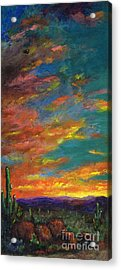 Triptych 1 Desert Sunset Acrylic Print