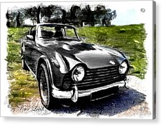 Triumph Tr5 Monochrome With Brushstrokes Acrylic Print
