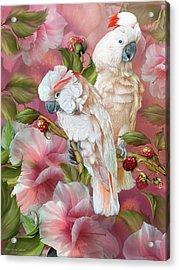 Acrylic Print featuring the mixed media Tropic Spirits - Cockatoos by Carol Cavalaris