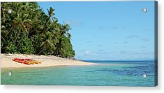 Tropical Beach Island Kayaking Acrylic Print by Opulent-images