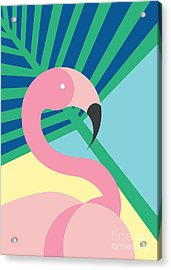 Tropical Bird In Abstract Geometric Acrylic Print