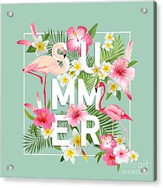 Tropical Flowers Background. Summer Acrylic Print