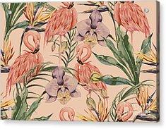 Tropical Flowers, Palm Leaves, Jungle Acrylic Print