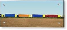 Trucks Along Road Digital Composite Acrylic Print