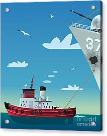 Tugboat Pulling Damaged Navy Ship Acrylic Print