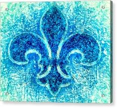 Turquoise Bleu Fleur De Lys Acrylic Print