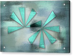 Turquoise Triangles On Blue Grey Backdrop Acrylic Print