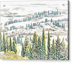 Acrylic Print featuring the photograph Tuscan Countryside Near Pienza by Dorothy Berry-Lound