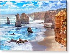 Twelve Apostles And Orange Cliffs Along Acrylic Print