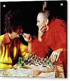 Twiggy And Justin De Villeneuve Play Chess, Vogue Acrylic Print by Bert Stern