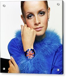 Twiggy In Blue With Union Jack Watch Acrylic Print by Bert Stern