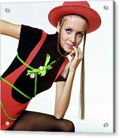 Twiggy With Piaget Watches Acrylic Print by Bert Stern