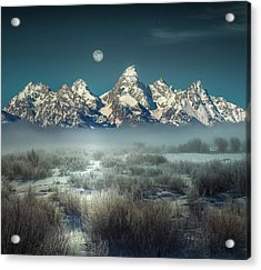 Acrylic Print featuring the photograph Twilight Glow / Grand Tetons  by Nicholas Parker