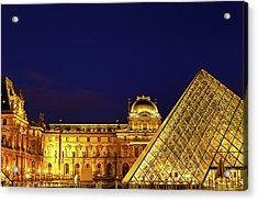 Twilight Over The Louvre Acrylic Print