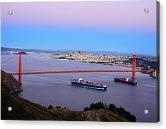 Two Container Ships Under The Golden Acrylic Print