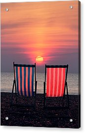 Two Deckchairs At Sunset, Beer Beach Acrylic Print