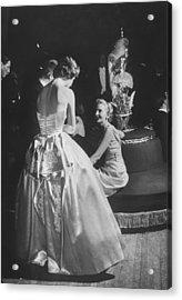 Two Elegantly Dressed Ladies Talking To Acrylic Print