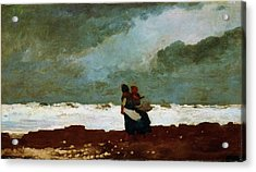 Two Figures By The Sea - Digital Remastered Edition Acrylic Print