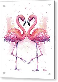 Two Flamingos In Love Watercolor Acrylic Print