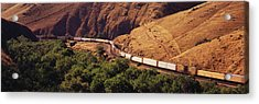 Two Freight Trains Passing In Narrow Acrylic Print