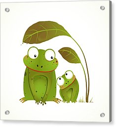 Two Frogs Mother And Baby Childish Acrylic Print